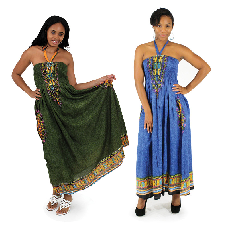 Traditional Print Tube Dresses