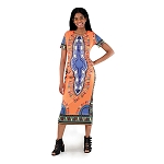 Traditional Print Party  Dress Orange