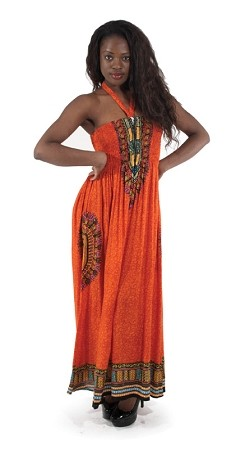 Traditional Print Tube Dress: Orange