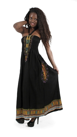 Traditional Print Tube Dress Black