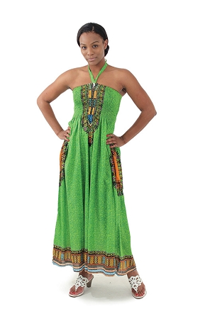 Traditional Print Tube Dress: Lime