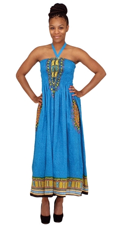 Traditional Print Tube Dress: Turquoise