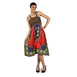 Traditional Print Stretch-Top Dress
