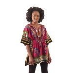 Traditional Elastic Dashiki Burgundy