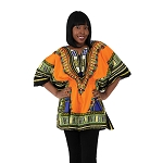 Traditional Elastic Dashiki Orange