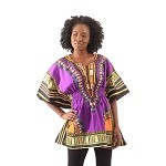 Traditional Elastic Dashiki Purple